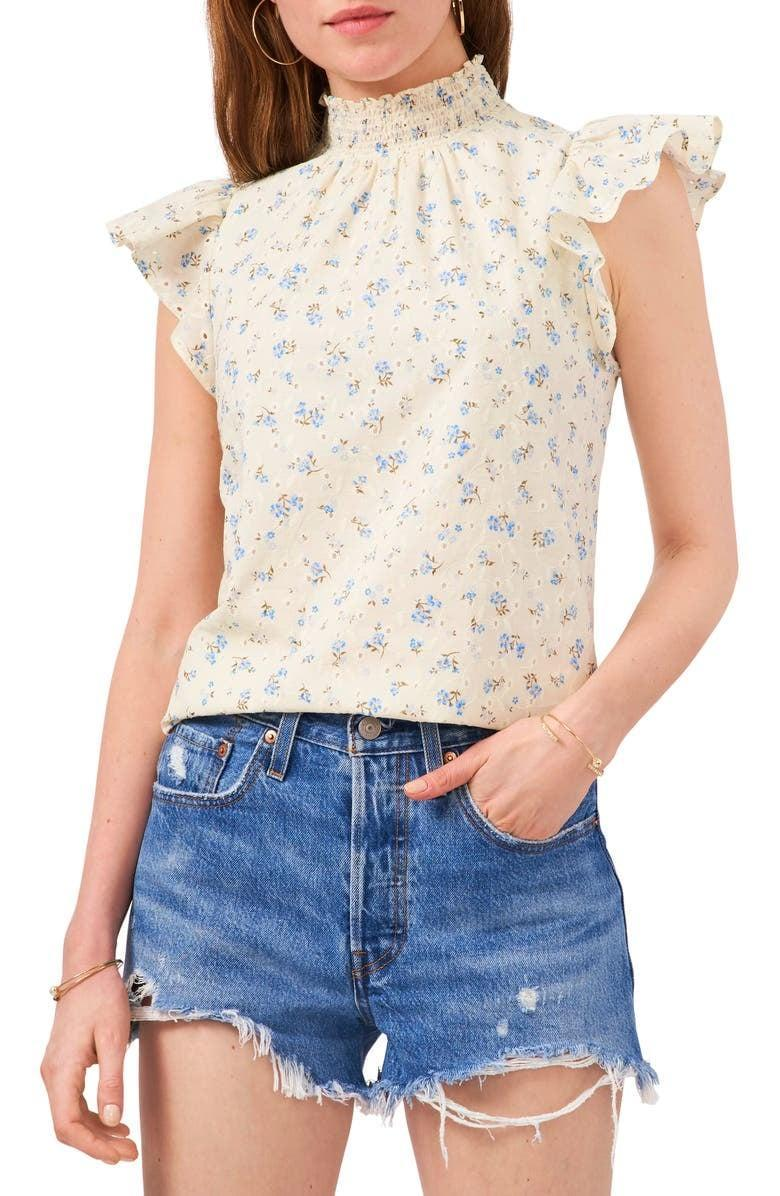 <p>This <span>1 State Flutter-Sleeve Floral Top</span> ($69) looks great with denim.</p>