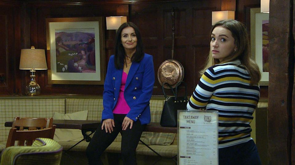 <p>When she realises Leyla is being serious, she's touched.</p>