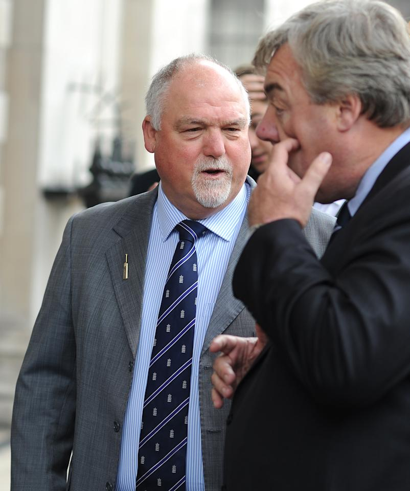 LONDON, ENGLAND - JUNE 24: Mike Gatting attends the Memorial Service for former Cricketer Tony Greig on June 24, 2013 in London, England. (Photo by Charlie Crowhurst/Getty Images)
