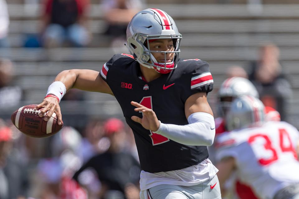 COLUMBUS, OH - APRIL 13: Ohio State Buckeyes quarterback Justin Fields (1) passes the ball during the Ohio State Life Sports Spring Game presented by Nationwide at Ohio Stadium in Columbus, Ohio on April 13th, 2019. (Photo by Adam Lacy/Icon Sportswire via Getty Images)