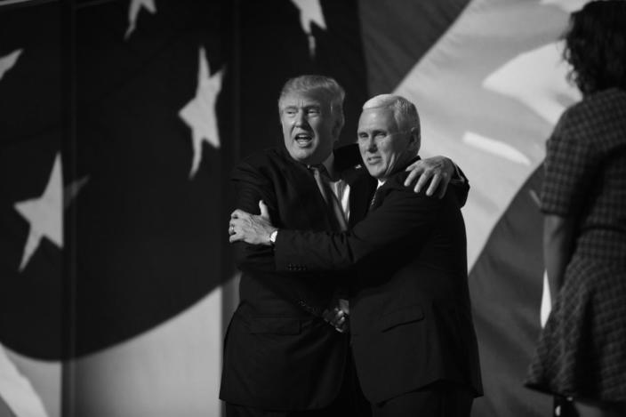 <p>Donal Trump and Mike Pence embrace after Trump's acceptance speech at the RNC Convention in Cleveland, OH. on July 21, 2016. (Photo: Khue Bui for Yahoo News)</p>