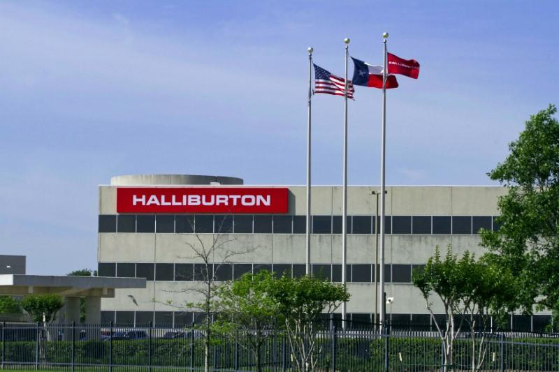 FILE PHOTO: The company logo of Halliburton oilfield services corporate offices is seen in Houston