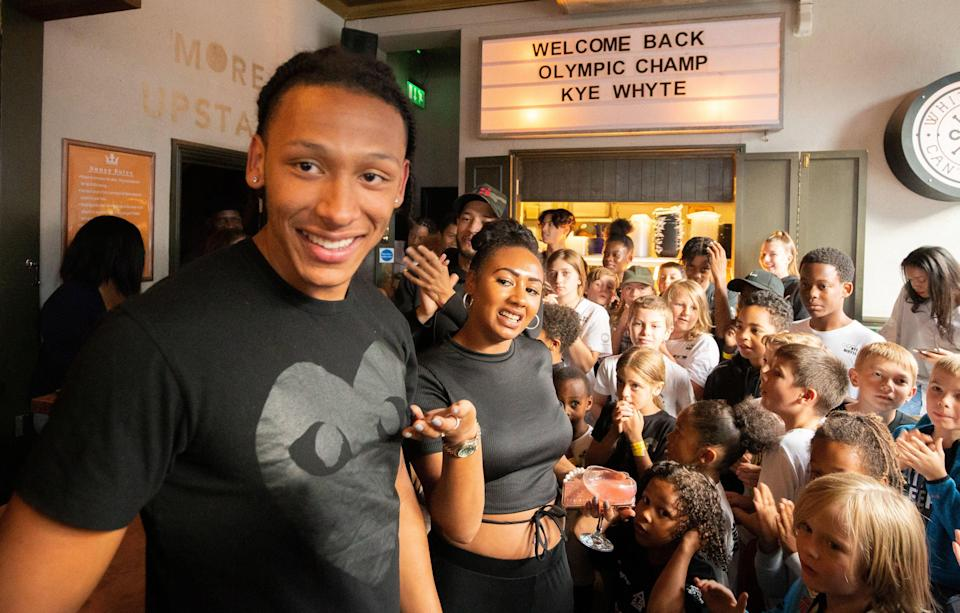 Silver medallist BMXer Kye Whyte at a welcome home party at the Prince of Peckham Pub in London (James Manning/PA) (PA Wire)