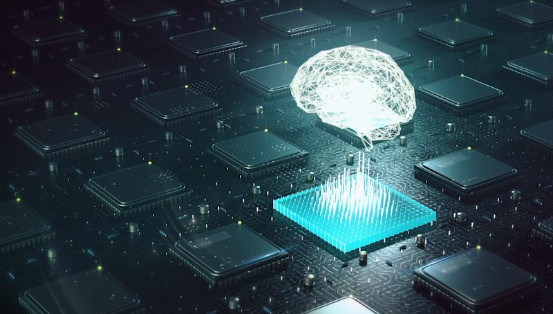 Microchip on a motherboard with a graphic of brain hovering above it