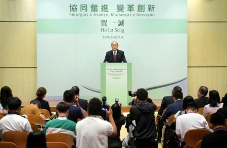 Ho Iat Seng, the candidate for Macau chief executive, speaks at a news conference in Macau