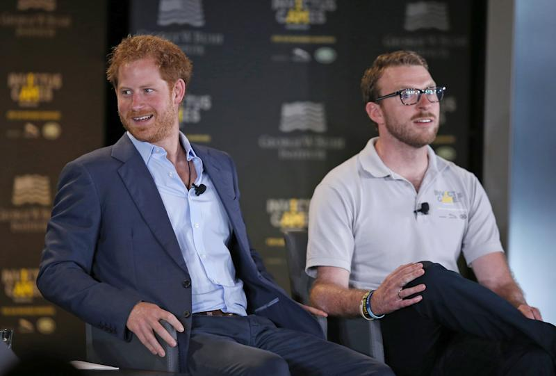 File photo dated 08/05/16 of John-James Chalmers (right) alongside the Duke of Sussex at the Invictus Games Athletics competition in Florida. The former Royal Marine and Invictus Games medalist has announced that he is joining this year's Strictly Come Dancing lineup.