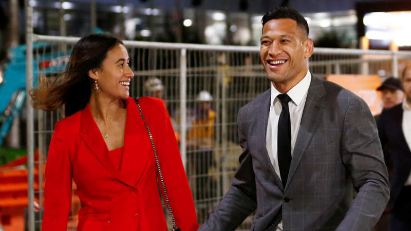 Israel Folau (pictured right) with his wife Maria Folau (pictured left). (Getty Images)