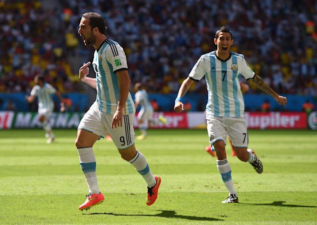 Gonzalo Higuain and Angel Di Maria both make the back half of our top 100. They'll have to perform like top 50 players if Argentina is to win the 2018 World Cup. (Getty)