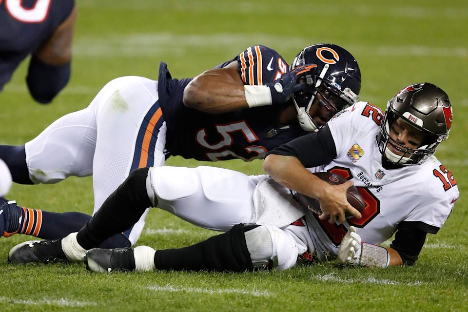 Khalil Mack (52) and the Bears might be in the NFL draft trade market for vastly different reasons than Tom Brady's Buccaneers.