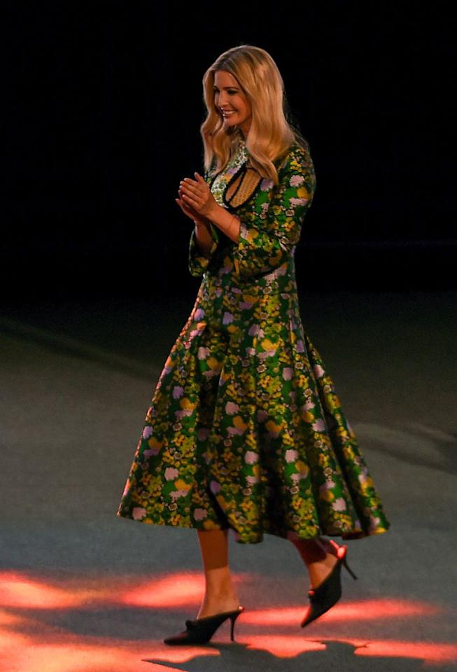 <p>During her trip to India, Ivanka Trump met Prime Minister Modi and Minister of External Affairs Sushma Swari on Tuesday 28 November.<br />For the monumental occasion, the First Daughter donned a jacquard dress by Erdem. But the £2,650 look received backlash from the public with many taking to social media to call the gown 'gaudy'. <em>[Photo: Getty]</em> </p>