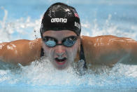 Kate Douglass of the United States swims in a women's 200-meter individual medley final at the 2020 Summer Olympics, Wednesday, July 28, 2021, in Tokyo, Japan. (AP Photo/Matthias Schrader)