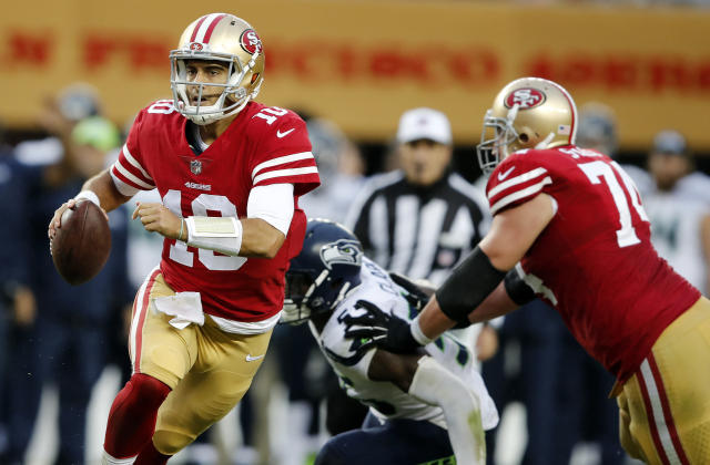 Trading for Jimmy Garoppolo was easily the biggest move the 49ers made this year. (AP)
