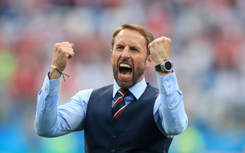 Gareth Southgate celebrates England's record World Cup victory, the 6-1 defeat of Panama - PA