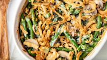 """<p>Though it's usually reserved for the holiday season, green bean casserole should be served all year long. After all, it is one of <a href=""""https://www.thedailymeal.com/cook/comfort-casserole-breakfast-dinner-recipes?referrer=yahoo&category=beauty_food&include_utm=1&utm_medium=referral&utm_source=yahoo&utm_campaign=feed"""" rel=""""nofollow noopener"""" target=""""_blank"""" data-ylk=""""slk:the best casserole recipes of all time"""" class=""""link rapid-noclick-resp"""">the best casserole recipes of all time</a>.</p> <p><a href=""""https://www.thedailymeal.com/recipes/deluxe-mushroom-green-bean-casserole-recipe?referrer=yahoo&category=beauty_food&include_utm=1&utm_medium=referral&utm_source=yahoo&utm_campaign=feed"""" rel=""""nofollow noopener"""" target=""""_blank"""" data-ylk=""""slk:For the Deluxe Mushroom Green Bean Casserole recipe, click here."""" class=""""link rapid-noclick-resp"""">For the Deluxe Mushroom Green Bean Casserole recipe, click here.</a></p>"""