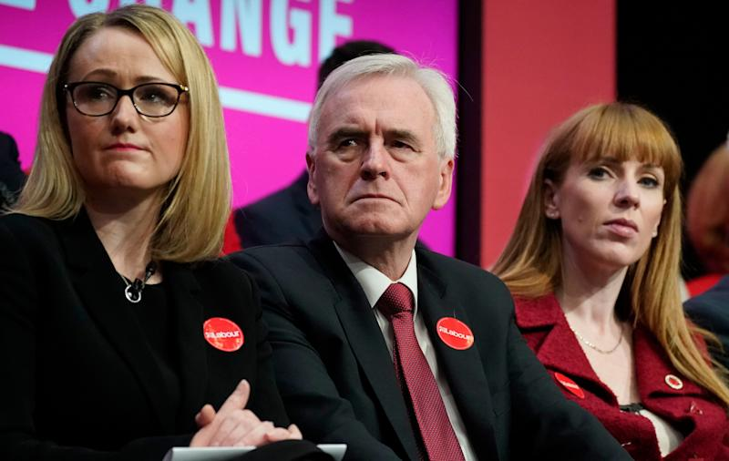 Rebecca Long-Bailey, John McDonnell and Angela Rayner (Photo: Christopher Furlong via Getty Images)
