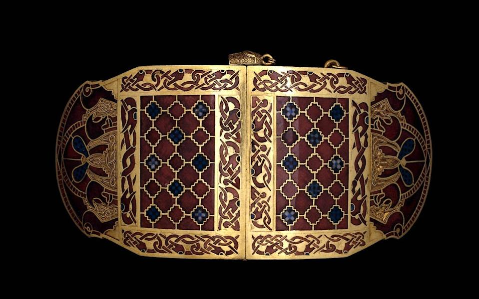Modern artists have struggled to recreate the curved gold shoulder clasps - British Museum