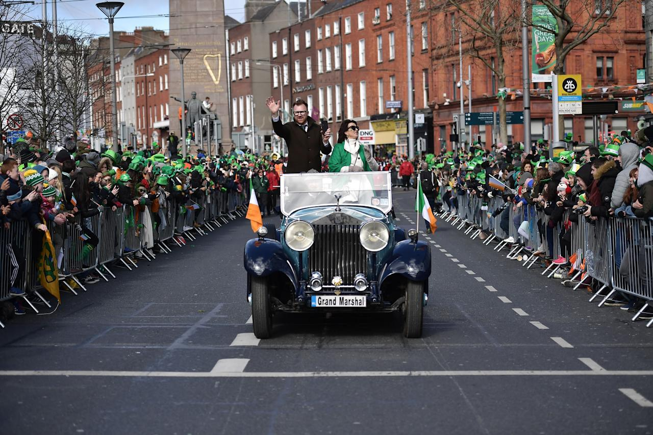 """<p>Cities and towns all over Ireland celebrate the 17th with parades, but since Dublin is the biggest hub, you can expect the parade to attract a crowd of over half a million spectators. In 2020, the <a href=""""http://www.stpatricksdayactivities.org/parade_Dublin.php"""" target=""""_blank"""" class=""""ga-track"""" data-ga-category=""""Related"""" data-ga-label=""""http://www.stpatricksdayactivities.org/parade_Dublin.php"""" data-ga-action=""""In-Line Links"""">St. Patrick's Day Parade route through Dublin</a> runs from Parnell Square (which is north of the River Liffey) to St. Patrick's Cathedral (which is south of the river). O'Connell Street is one of the best places to snag a spot, but it gets packed early, so you'll want to arrive by no later than 10 a.m. You can also <a href=""""https://stpatricksfestival.ticketsolve.com/shows/873605396?_ga=2.56871274.1569842740.1574339567-463554760.1572864933"""" target=""""_blank"""" class=""""ga-track"""" data-ga-category=""""Related"""" data-ga-label=""""https://stpatricksfestival.ticketsolve.com/shows/873605396?_ga=2.56871274.1569842740.1574339567-463554760.1572864933"""" data-ga-action=""""In-Line Links"""">book a seat in the Grandstands instead</a> for €70 per person if you don't want to deal with the crowds.</p>"""