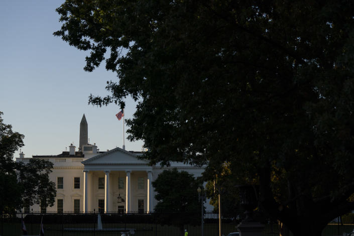 A view of the White House and Washington Monument, Monday, Oct. 5, 2020, in Washington. (AP Photo/Evan Vucci)