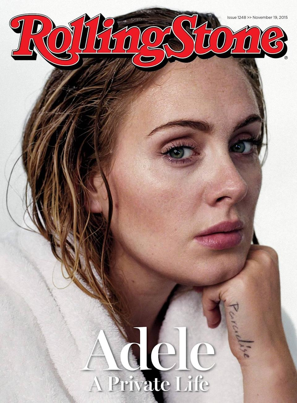 """<p>Stripping off her heavy makeup and appearing as she just stepped out of the shower (her hair's even still wet and she's wearing a fluffy white robe), the singer posed in the thinking position and showed off her """"Paradise"""" tattoo (which wasn't copied from Lana Del Rey, who has a similar one). Criticized for her weight for years, she's slimmed down as of late. """"I'm not, like, skipping to the f***king gym. I don't enjoy it. I do like doing weights. I don't like looking in the mirror,"""" she admitted. """"Blood vessels burst on my face really easily, so I'm so conscious when I'm lifting weights not to let them burst in my face. And if I don't tour, you'll catch me [eating] Chinese!""""</p>"""
