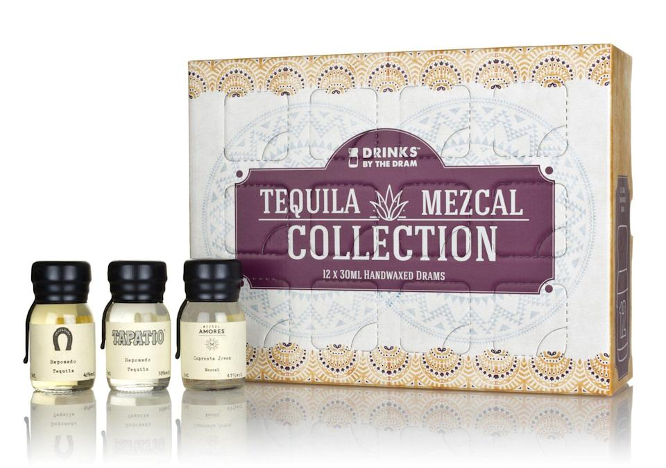 """<p><strong>The Spirit Co.</strong></p><p>thespiritco.com</p><p><strong>£49.95</strong></p><p><a href=""""https://thespiritco.com/collections/advent-calendars-2020/products/collection-series-tequila-mezcal"""" rel=""""nofollow noopener"""" target=""""_blank"""" data-ylk=""""slk:Shop Now"""" class=""""link rapid-noclick-resp"""">Shop Now</a></p><p>Is he more of a tequila guy? This calendar has 12 different, handmade 30ml wax-sealed drams of tequila and mezcal spirits. (The Spirit Co. also has 12-drink advent calendars for <a href=""""https://thespiritco.com/collections/advent-calendars/products/collection-series-premium-rum"""" rel=""""nofollow noopener"""" target=""""_blank"""" data-ylk=""""slk:rum"""" class=""""link rapid-noclick-resp"""">rum</a>, <a href=""""https://thespiritco.com/collections/advent-calendars/products/tbgc-12-dram-gift-set"""" rel=""""nofollow noopener"""" target=""""_blank"""" data-ylk=""""slk:gin"""" class=""""link rapid-noclick-resp"""">gin</a> and other spirits, too.) </p>"""