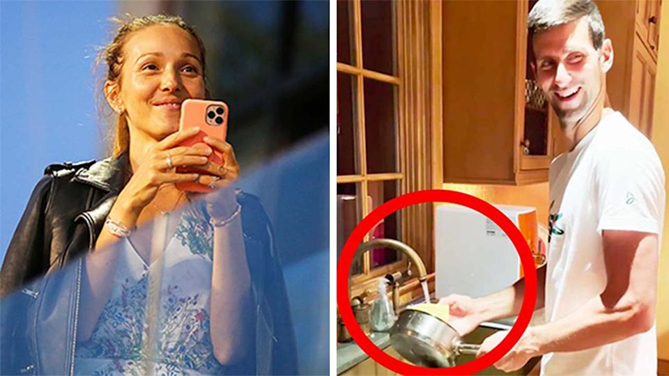 Jelena Djokovic (pictured left) watching during the Adria Tour and (pictured right) Novak Djokovic doing the dishes after his late night match at the US Open.