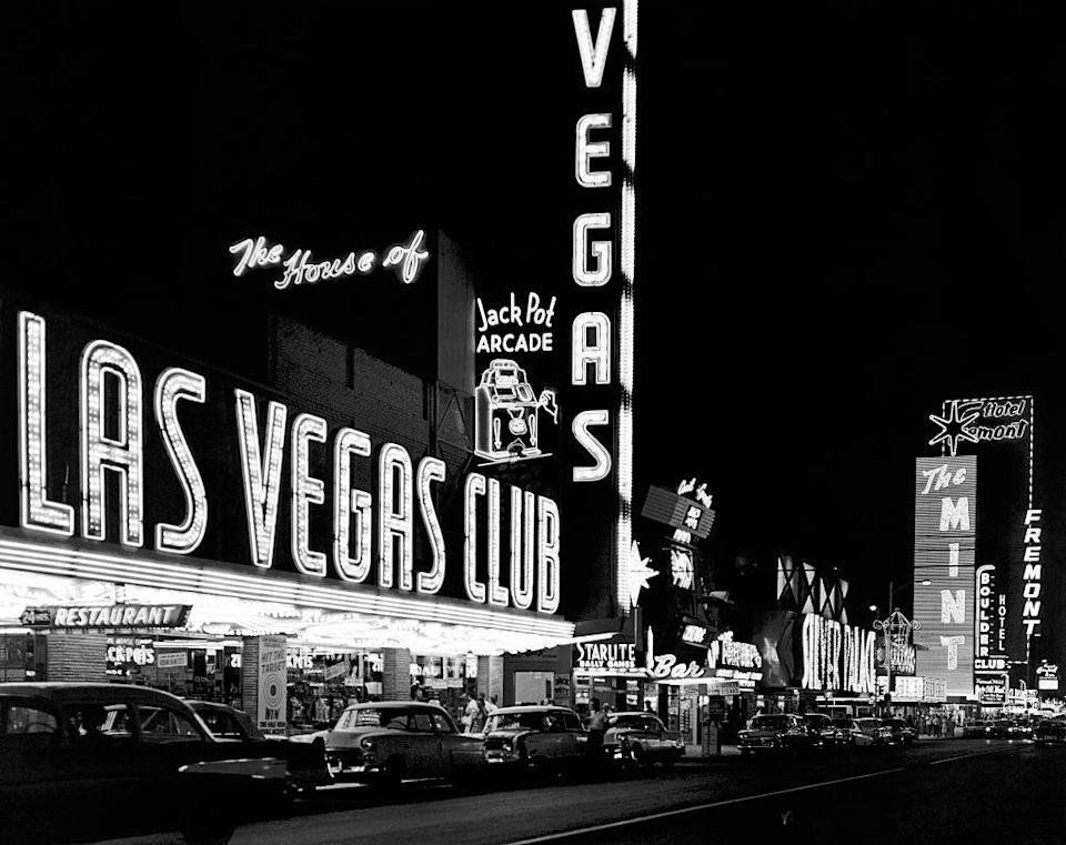 <p>The massive marquee at Biff's Las Vegas Club and The Mint.</p>