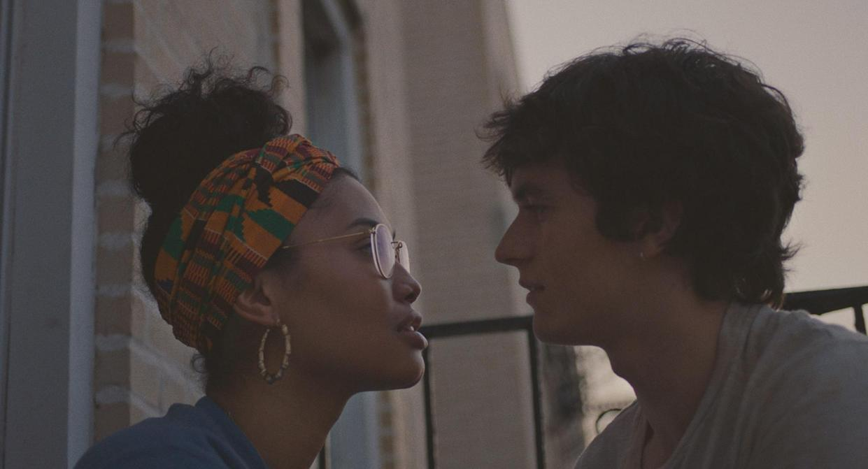 Leyna Bloom and Fionn Whitehead in the film 'Port Authority' (Photo: Momentum Pictures)