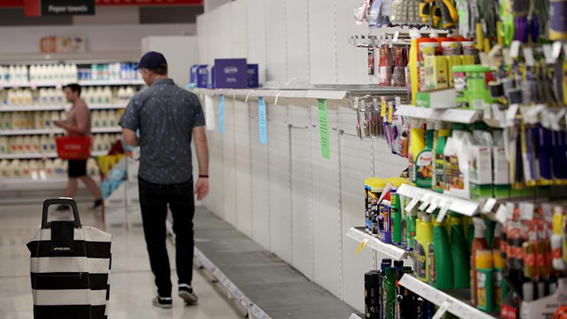 Empty toilet paper shelves at Coles supermarket in Adelaide, Friday, March 13, 2020