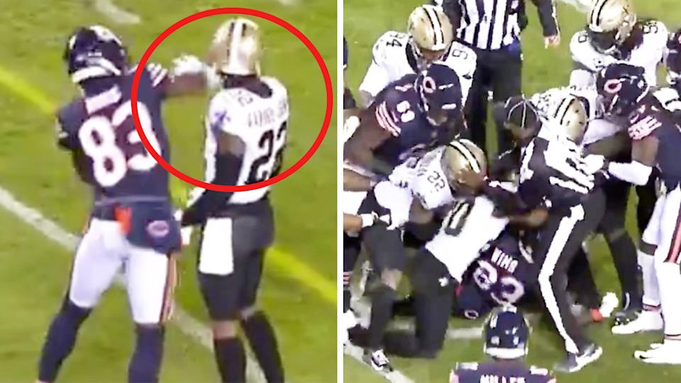 Chicago Bears wide receiver Javon Wims (pictured left) sucker-punching New Orleans star Chauncey Gardner-Johnson and prompting a brawl (pictured right).