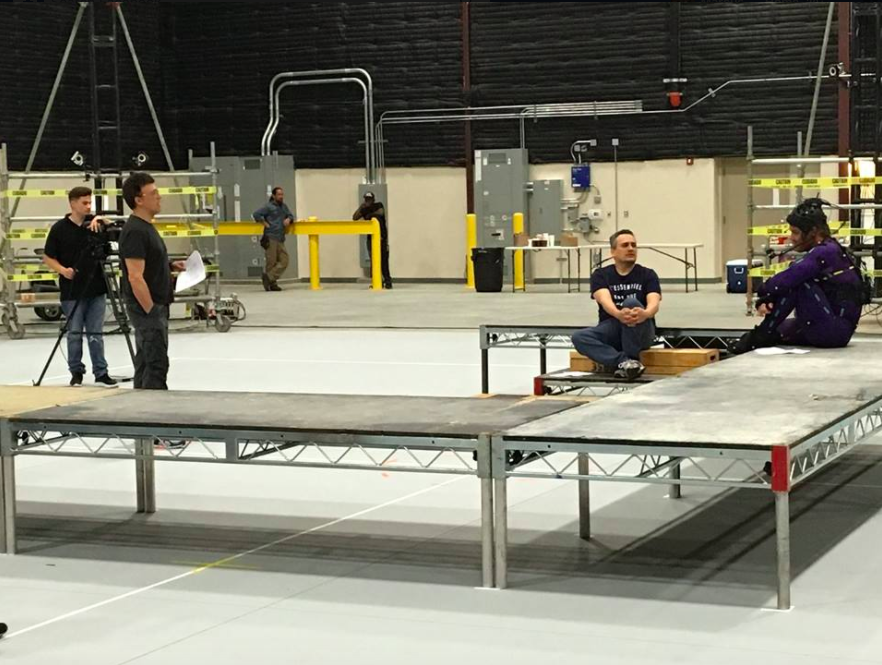 """<p>Directors Anthony and Joe Russo's earliest behind-the-scenes image from <em>Avengers: Infinity War</em> was this Sept. 8, 2016 Facebook entry featuring Josh Brolin (right) in a mo-cap suit and simply captioned, """"Rehearsal."""" Brolin will provide the voice and movements of the film's CG antagonist, Thanos. (Photo: <a href=""""https://www.facebook.com/TheRussoBrothersOfficial/photos/a.740279982774603.1073741828.739779486157986/836386596497274/?type=1&theater"""" rel=""""nofollow noopener"""" target=""""_blank"""" data-ylk=""""slk:Facebook/TheRussoBrothersOfficial"""" class=""""link rapid-noclick-resp"""">Facebook/TheRussoBrothersOfficial</a>) </p>"""