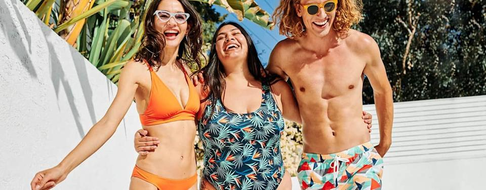 MeUndies swimwear for men and women with bold colorful patterns