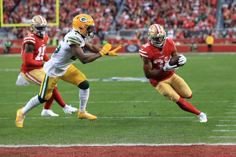San Francisco 49ers running back Raheem Mostert is coming off a record-setting NFC championship game. (Photo by Sean M. Haffey/Getty Images)