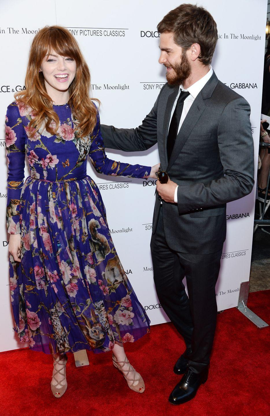"""<p>While rumors about a romance started in 2011, Stone and Garfield didn't go public with their relationship until March of 2012. They reportedly split in 2015. In May 2018, they were<a href=""""https://pagesix.com/2018/05/23/emma-stone-and-ex-beau-andrew-garfield-are-spotted-looking-cozy/"""" rel=""""nofollow noopener"""" target=""""_blank"""" data-ylk=""""slk:out together"""" class=""""link rapid-noclick-resp""""> out together </a>in New York City. Stone is<a href=""""https://pagesix.com/2019/12/09/emma-stone-and-fiance-dave-mccary-step-out-after-getting-engaged/"""" rel=""""nofollow noopener"""" target=""""_blank"""" data-ylk=""""slk:now engaged to Dave McCary"""" class=""""link rapid-noclick-resp""""> now engaged to Dave McCary</a>. </p>"""