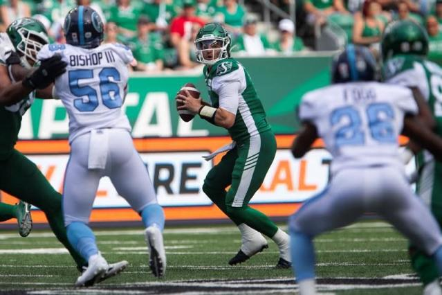 "Cody Fajardo is giving rookie head coach Craig Dickenson a very pleasant problem.With incumbent Zach Collaros on the six-game injured list, Fajardo has throw for 790 yards with four TDs in two starts with the Saskatchewan Roughriders. Fajardo had a career-best 430 passing yards in leading the Riders past Toronto 32-7 for a rain-delayed first win of the season Monday night.Fajardo was a one-man show in the first half. He threw for 293 yards and two TDs while rushing for another in staking Saskatchewan to an emphatic 25-0 second-quarter advantage before rain and lightning forced action to be delayed over two hours.Fajardo has amassed the most passing yards by a Riders quarterback in his first two CFL starts in club history, surpassing longtime starter Darian Durant (688 yards). And that could present Dickenson with quite a decision when Collaros returns.Fajardo was 27-of-34 passing for 360 yards and two touchdowns in his first start of the season, a 44-41 road loss in Ottawa on June 20.The six-foot-two, 215-pound Fajardo began his CFL career with Toronto in 2016 and earned a Grey Cup ring with the franchise the following year. He spent last season as a backup with the B.C. Lions before joining the Riders.Fajardo has completed 60-of-82 passes (73.2 per cent) for 856 yards with four TDs and no interceptions this season. He's also scored three rushing touchdowns.Collaros, 30, opened the season as Saskatchewan's starter but went on the six-game injured list after being hit in the head by Hamilton linebacker Simoni Lawrence in the Riders' season-opening 23-17 loss. Collaros missed four regular-season games and the West Division semifinal last year with a concussion.Collaros guided Hamilton to a Grey Cup appearance in 2014 — his first season with the Ticats — and led the team to an 8-3 start in 2015 before suffering a season-ending knee injury. He was leading the CFL in passing (3,376 yards), TDs (25) and passer rating (113.7) at the time.Collaros appeared in just 10 games the following season then lost his starting job to Jeremiah Masoli after Hamilton's 0-8 start in 2017. Collaros was dealt to Saskatchewan in January 2018 and re-signed with the Riders last year.Saskatchewan hosts the Grey Cup-champion Calgary Stampeders (1-1) on Saturday night.\---EXPLOSIVE BANKS: Brandon Banks has scored touchdowns three different ways already this season.The Hamilton Tiger-Cats receiver — appropriately dubbed Speedy B — is the CFL's receiving leader with 334 yards on 20 catches with a touchdown (on a 47-yard pass from Jeremiah Masoli). He's also returned a missed field goal 113 yards for a TD (in Ticats' 64-14 road win over Toronto on June 22) then scored on a 30-yard run in a 41-10 home victory over Montreal on Friday nightBanks has seven career punt return TDs but none since 2017. Hamilton has dramatically scaled back Banks' special-teams appearances as he's become more of an offensive focal point. Banks had a career-best 94 catches for 1,423 yards with 11 TDs last season.Banks, who was the CFL's top special-teams player in 2015, has also returned a kickoff for a TD as well as four missed field goals. But Banks said there's another way he can contribute to Hamilton's scoring.""Passing . . . someone needs to call (Ticats offensive co-ordinator) Tommy Condell and put that in there for a play,"" Banks said following the win over Montreal, tongue firmly in cheek. ""Whenever my number is called I'm just trying to help my team win.""We're trying to put points on the board, that's all.""Ticats coach Orlondo Steinauer, 3-0 as a CFL head coach, is just happy Banks is on his team.""I just know that he is a dynamic player, that's busted his tail and grown a lot,"" Steinauer said. ""Obviously Jeremiah is comfortable with him and he's just a special football player.""He can score whether it's in the return game, running the ball or obviously receiving. I think he'd be the first to tell you he expects that of himself and I'm just glad he's on our team.""\---WHAT NOW?: Fortunately for the Toronto Argonauts, they don't have time to dwell upon their early-season struggles.Toronto (0-2) suffered its second straight loss Monday night, a 32-7 decision in Regina to the Saskatchewan Roughriders. This season the Argos have been outscored 96-21 and allowed over 1,100 offensive yards.Toronto resumes league action Saturday night hosting B.C. (0-3).Toronto's dismal start certainly won't help ticket sales for Saturday night's game, especially considering the Lions aren't a huge draw. The Argos had over 16,000 fans for their season opener — the franchise average just over 14,000 spectators last year — but proceeded to drop a lopsided 64-14 decision to arch-rival Hamilton at BMO Field.The Argos haven't been good in all three phases in either game this season, giving fans precious few reasons to continue supporting the club. Starter James Franklin has completed 36-of-54 passes (66.7 per cent) but for only 435 yards with more interceptions (three) than TDs (one).Big-play receiver Derel Walker, Toronto's key off-season free-agent acquisition, is averaging 24.6 yards per catch but only has five thus far, and 98 of his 123 total yards have come on two receptions.To be fair, Toronto has a new defensive co-ordinator (first-year head coach Corey Chamblin) and offensive co-ordinator (Jacques Chapdelaine). However, neither unit has been in sync thus far, which certainly won't help attendance.Dan Ralph, The Canadian Press"