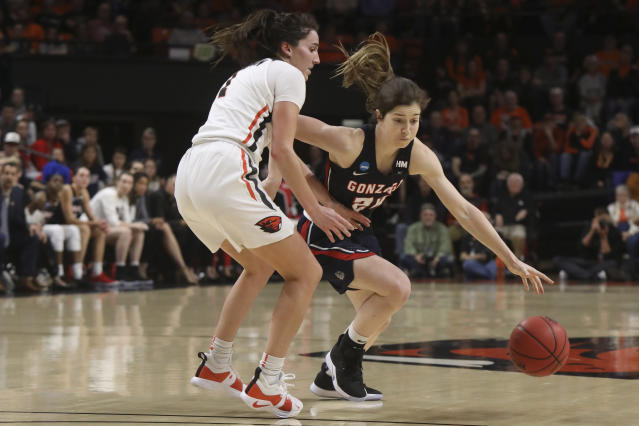 Gonzaga's Katie Campbell (24) dribbles around Oregon State's Aleah Goodman (1) during the first half of a second-round game of the NCAA women's college basketball tournament in Corvallis, Ore., Monday, March 25, 2019. (AP Photo/Amanda Loman)