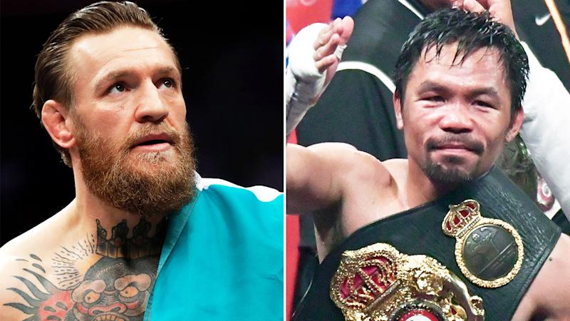 Conor McGregor (pictured left) with the Irish flag and boxing legend Manny Pacquiao (pictured right) with his belt thanking fans.