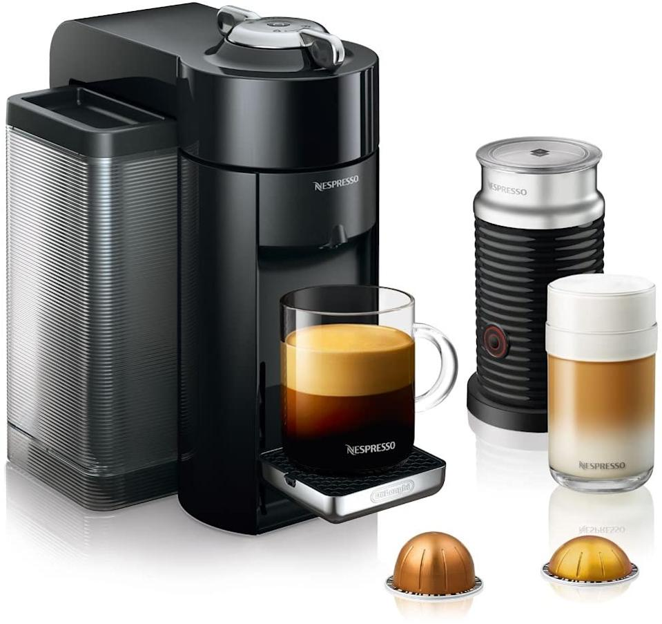 Nespresso Vertuo Machine by De'Longhi with Aeroccino Milk Frother in black. Image via Amazon.
