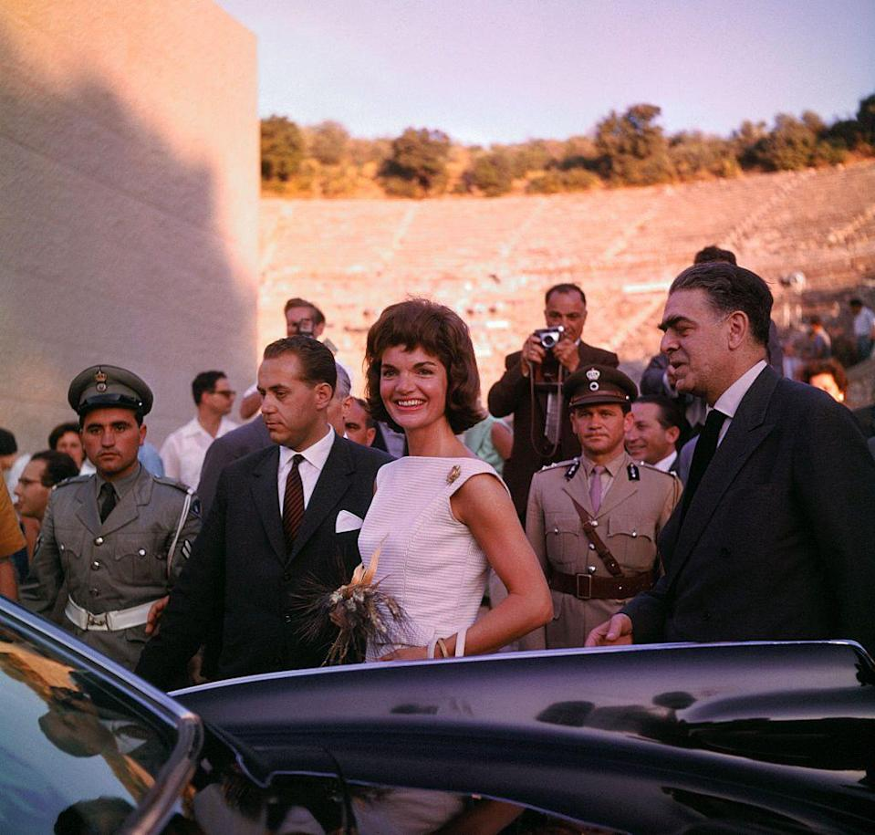 <p>Jackie tours the Theater of Epidaurus on a visit to Greece. </p>