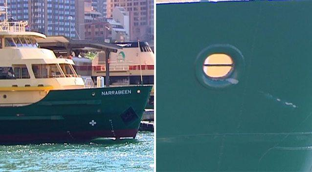 Scratches can be seen on the ferry following the crash. Source: 7 News