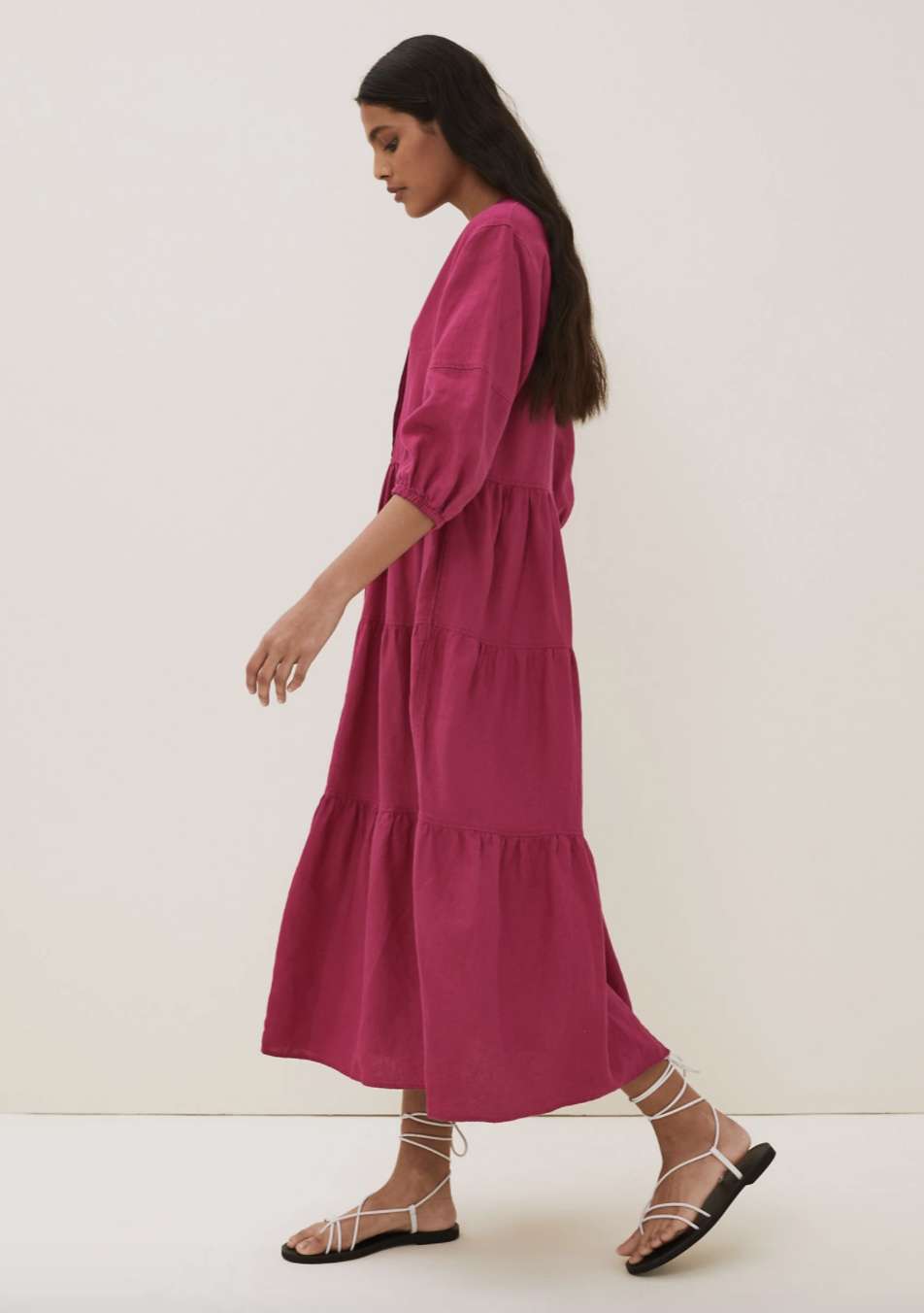 Marks & Spencer's Midaxi Linen Dress boasts tiered detail, puff 3.4 sleeves with cuff detail for extra volume.  (Marks and Spencer)