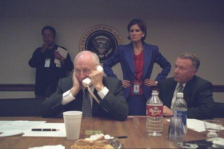"""U.S. Vice President Dick Cheney is pictured with Chief of Staff I. Lewis """"Scooter"""" Libby (R) in the President's Emergency Operations Center in Washington in the hours following the September 11, 2001 attacks in this U.S National Archives handout photo"""