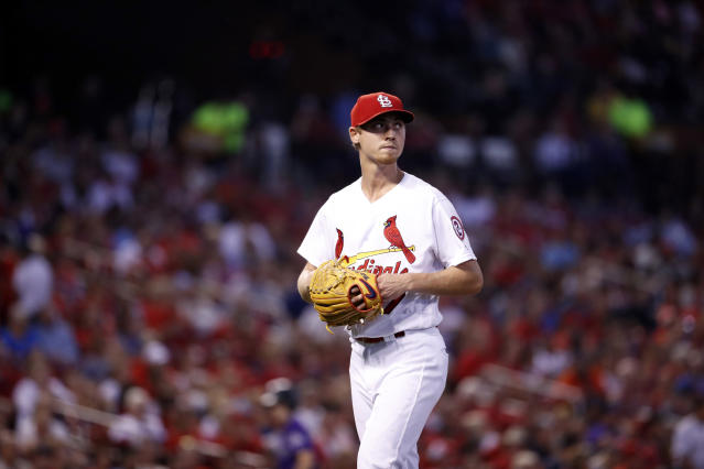 """The Cardinals had to change their plans after an unfortunate meal for <a class=""""link rapid-noclick-resp"""" href=""""/mlb/players/10217/"""" data-ylk=""""slk:Luke Weaver"""">Luke Weaver</a>. (AP Photo)"""