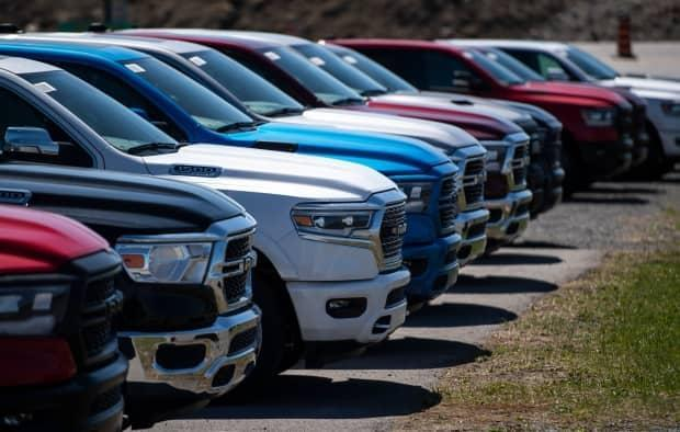 New Dodge Ram pickup trucks for sale are seen at an auto mall in Ottawa in April. (Justin Tang/The Canadian Press - image credit)