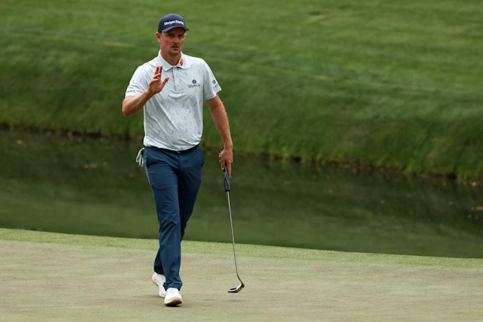 AUGUSTA, GEORGIA - APRIL 08: Justin Rose of England reacts on the 16th green during the first round of the Masters at Augusta National Golf Club on April 08, 2021 in Augusta, Georgia. (Photo by Kevin C. Cox/Getty Images)