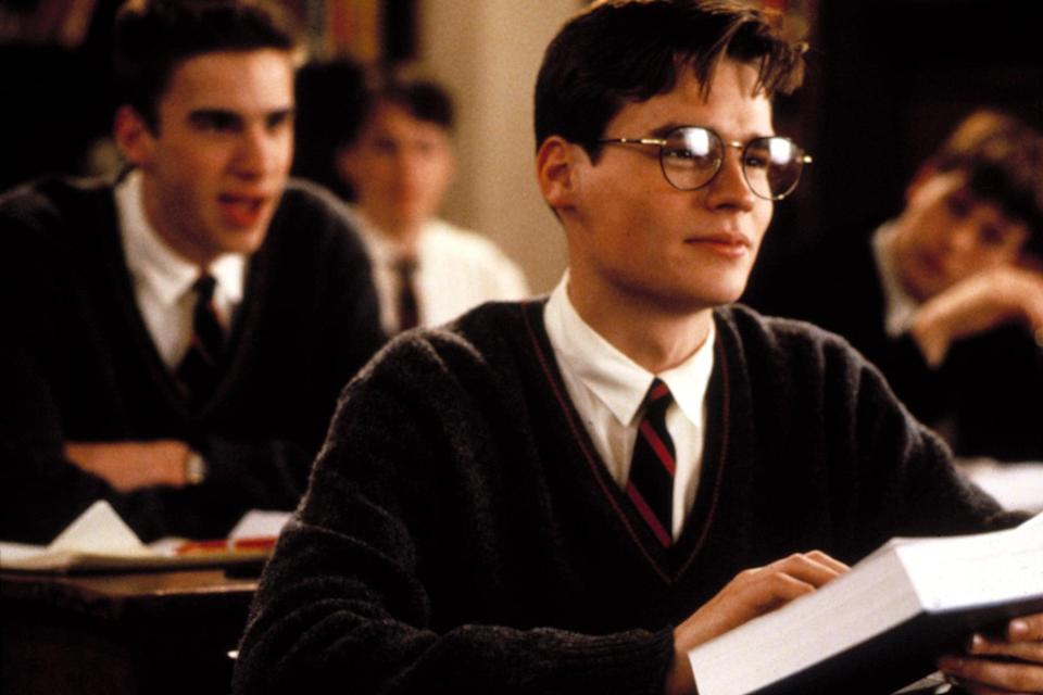 """<p>The academic setting in <strong>Dead Poets Society</strong> feels like going back to school in the best way. With the help of their new teacher, a group of boys learn to open their minds and live every day like it's their last. </p> <p><a href=""""https://www.amazon.com/Dead-Poets-Society-Robin-Williams/dp/B00AOB3XHC/ref=sr_1_1?dchild=1&amp;keywords=dead+poets+society&amp;qid=1632279407&amp;s=instant-video&amp;sr=1-1"""" class=""""link rapid-noclick-resp"""" rel=""""nofollow noopener"""" target=""""_blank"""" data-ylk=""""slk:Watch Dead Poets Society on Amazon Prime Video"""">Watch <strong>Dead Poets Society</strong> on Amazon Prime Video</a>.</p>"""
