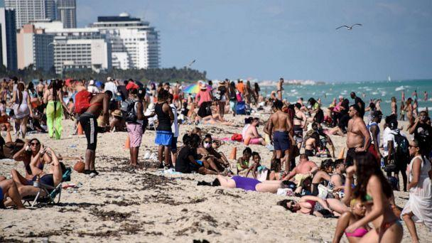 PHOTO: Beachgoers flock to South Beach, Miami, March 13, 2021, during Spring Break. (Michele Eve Sandberg/Shutterstock)