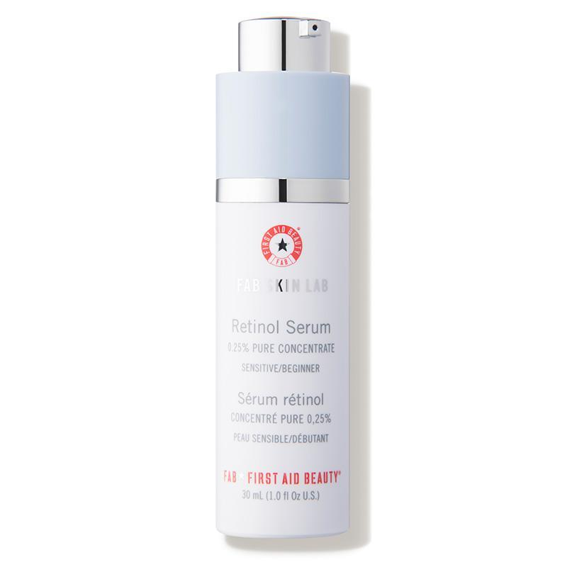 """<h3><a href=""""https://www.dermstore.com/product_FAB+Skin+Lab+Retinol+Serum+025+Pure+Concentrate_72104.htm"""" rel=""""nofollow noopener"""" target=""""_blank"""" data-ylk=""""slk:First Aid Beauty FAB Skin Lab Retinol Serum 0.25% Pure Concentrate"""" class=""""link rapid-noclick-resp"""">First Aid Beauty FAB Skin Lab Retinol Serum 0.25% Pure Concentrate</a> </h3> <br>This sensitive skin-friendly brand makes a great starter retinol with a 0.25% concentration of the vitamin A derivative along with hyaluronic acid, colloidal oatmeal, allantoin, aloe, ceramides, and vitamins C and E for soothing and calming effects.<br><br><strong>First Aid Beauty</strong> FAB Skin Lab Retinol Serum 0.25% Pure Concentrate, $, available at <a href=""""https://www.dermstore.com/product_FAB+Skin+Lab+Retinol+Serum+025+Pure+Concentrate_72104.htm"""" rel=""""nofollow noopener"""" target=""""_blank"""" data-ylk=""""slk:DermStore"""" class=""""link rapid-noclick-resp"""">DermStore</a><br>"""