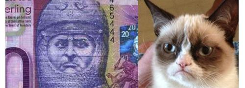 20 pound note and Grumpy Cat