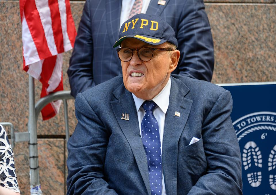 NEW YORK, NEW YORK - SEPTEMBER 11: President Donald Trump's lawyer and former New York City mayor Rudy Giuliani attends a 9/11 memorial service at Zuccotti Park on September 11, 2020 in New York City. The remembrance ceremony marked the 19th anniversary of the September 11, 2001 terrorist attacks. (Photo by Noam Galai/Getty Images)