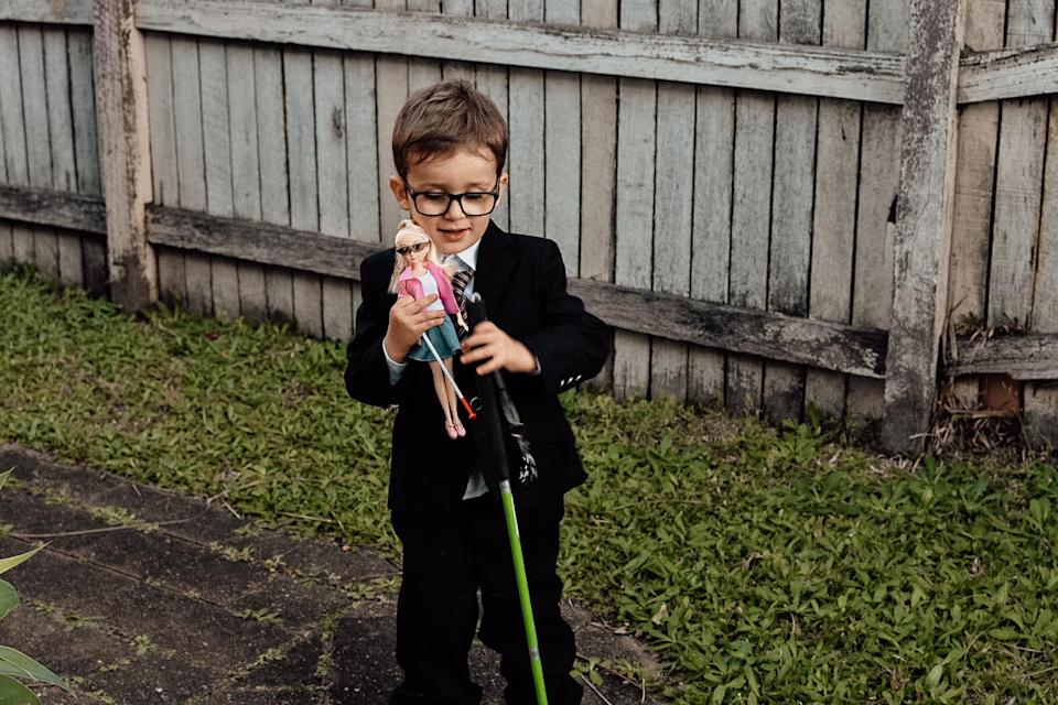 Emma revealed that her son was so excited to find a doll that was vision-impaired like him that he took it to school and to bed. Photo: Supplied